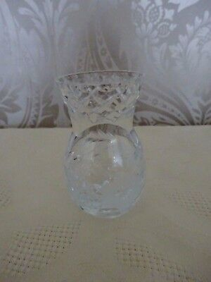 Vintage Retro Possibly Lead Crystal Etched Glass Floral Posy Vase 8.5cm tall