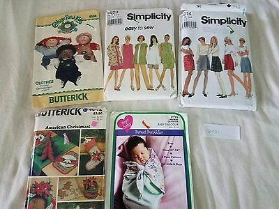 Sewing Patterns Mixed Lot of 5 Simplicity Butterick Baby Sew P021 Free Ship