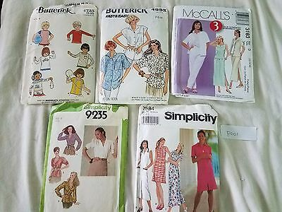 Sewing Patterns Mixed Lot of 5 McCall's Simplicity Butterick P001 Free Ship