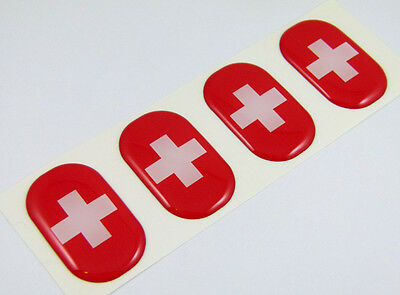 "Switzerland midi Swiss domed decals flag 4 emblems 1.5""x1"" Car bike stickers"
