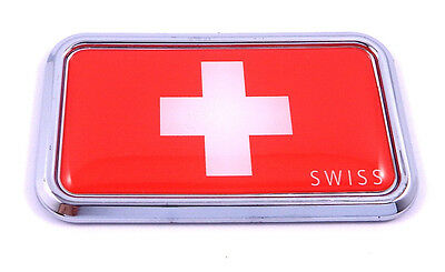 "Switzerland Swiss rectanguglar Chrome Emblem 3D Car Decal Sticker 3""x1.75"""