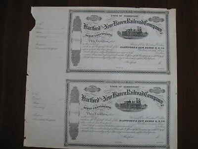 Two 1800's Hartford and New Haven Railroad Company SCRIP CERTIFICATE STOCK
