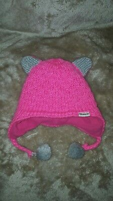 Appaman Winter Hat, Pink Kitty Ears With Pom Pom, Girl Size S - 6/12/18 months