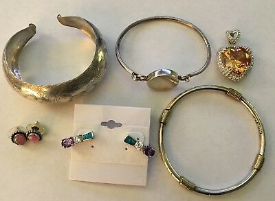 *Very Nice* Sterling Silver 925 Jewelry Misc Wear Lot Crystal Gem Stones 91g
