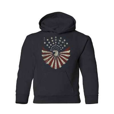 Vintage American Flag Eagle Star YOUTH Hoodie 4th Of July Sweatshirt
