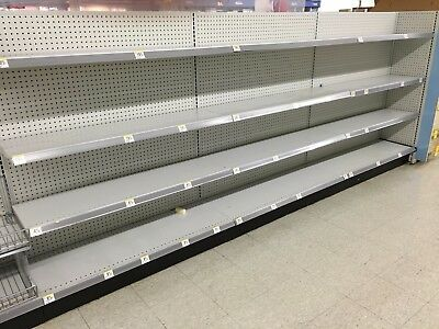 Used Supermarket Store Metal Lozier Gondola Double Sided Shelving White Sections