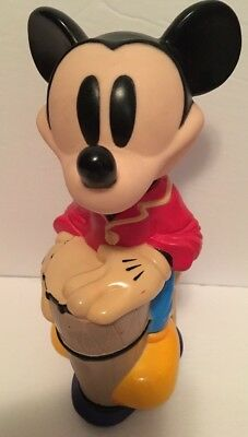 "Vintage 1990's Mickey Mouse Drum Bubble Bath Bottle Disney 10"" RARE Collectible"