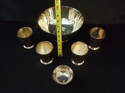 "SILVER PLATED SERVING BOWL and 5 CUPS 10"" Silverplate Taunton Silversmith's"