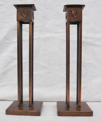 Suberb Pair of Arts and Crafts Copper Candlesticks circa 1900