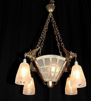 Antique large French bronze glass shades figural birds Art Deco chandelier