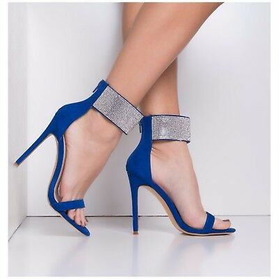 Olivia James CLEO Royal Blue Faux Suede Wide Rhinestone Ankle Strap Stiletto