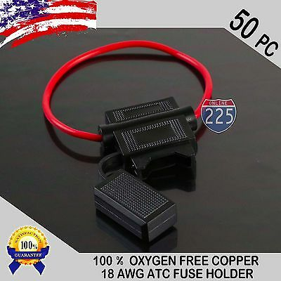 50 Pack 18 Gauge ATC In-Line Blade Fuse Holder 100% OFC Copper Wire Protection