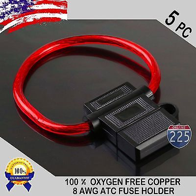 5 Pack 8 Gauge ATC In-Line Blade Fuse Holder 100% OFC Copper Wire Protection US