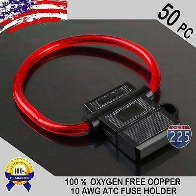 50 Pack 10 Gauge ATC InLine Blade Fuse Holder 100% OFC Copper Wire Protection US