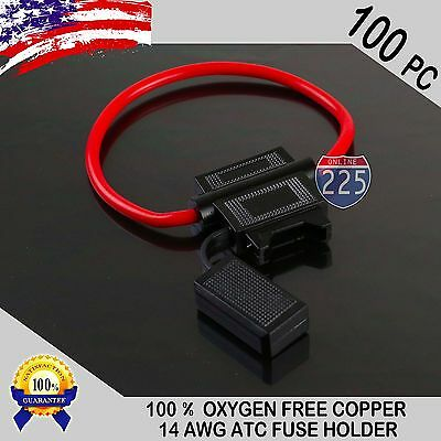 100 Pack 14 Gauge ATC In-Line Blade Fuse Holder 100% OFC Copper Wire Protection