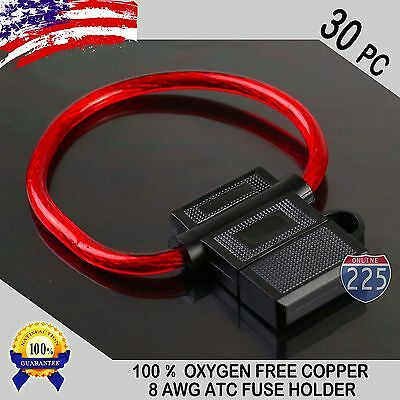 30 Pack 8 Gauge ATC In-Line Blade Fuse Holder 100% OFC Copper Wire Protection US