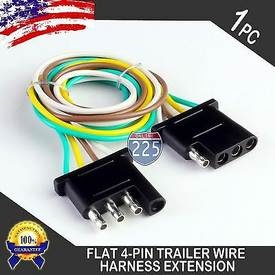 12FT TRAILER LIGHT Wiring Harness Extension 4-Pin 18 AWG Flat Wire on 4 flat tires, toyota sequoia 2001 2007 towing harness, molded connector 6-way trailer harness, 7 flat wiring harness, 4 point wiring harness, 3 flat wiring harness, 4 flat wiring adapter, 4 flat engine, 4 flat connector, 4 flat mounting bracket,