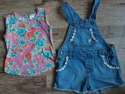 guess girls denim dungaree shorts outfit