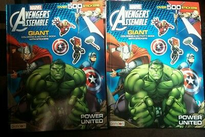 Marvel Avengers Assemble Giant Sticker and Activity Book, 500+ Stickers Lot Of 2