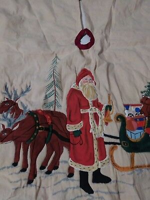 Christmas Tree skirt Santa and sled  with children embossed old fashioned cream