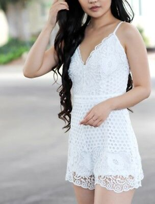 white Scallop Lace Romper (medium and large)