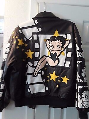 Rare Vintage Betty Boop Leather Bomber Jacket Excellent Cond Size Med