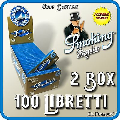 Cartine SMOKING BLU CORTE - 2 Box 100 Libretti - 6000 Fogli ULTRA SOTTILI blue