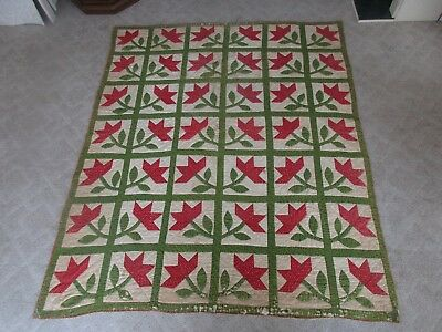 Antique Hand Made Sewn Applique Block Feed Sack Red Green White Flower Quilt