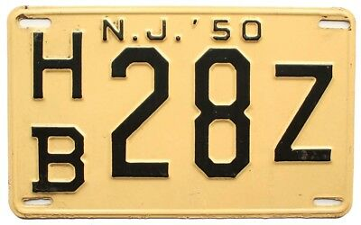 New Jersey 1950 License Plate, HB 28Z, Hudson County, High Quality Antique