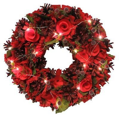 Traditional Festive Red Light Up Christmas Wreath With LED Lights 36CM
