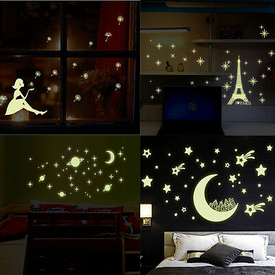 Glow In The Dark Stars Crescent Wall Stickers Decal Kid Nursery Ceiling Decor
