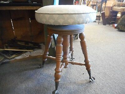Antique Vintage Tonk Chicago Piano Stool Glass Ball Claw Foot Upholstered