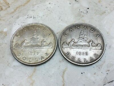 Canada 1935 and 1936 Canada Silver Dollar Coin Lot. - Silver. Free Shipping