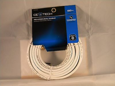50 ft. 18-Gauge RG-6 Coaxial Cable - White~CE Tech