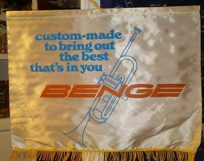 Vintage colorful 1970s 20 x 28 Benge trumpet advertising banner. Excellent Cond.