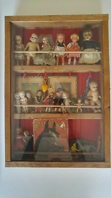 Look ! Wow ! Vintage And Antique Dolls In Glass And Wood Hand Made Case