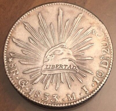 Mexico 1833 8 Reales GO MJ Libertad Silver Coin AU NICE !!!