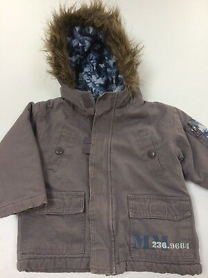 Boys Parka Coat Jacket. Army Pattern Hood. Age 1 1/2-2 Years 18-24 Months