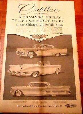 1958 CHICAGO AUTO SHOW Newspaper Supplement Complete Section Jan 5 1958