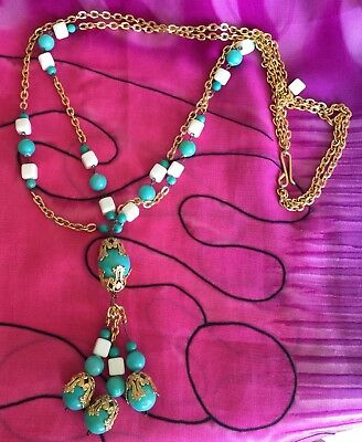 Vintage Antique Gold Layer White Turquoise Chain Beaded Necklace Estate Find Vtg