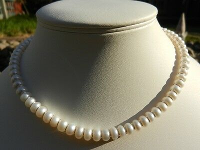 Handmade natural ivory pearl & sterling silver necklace, bracelet and earrings