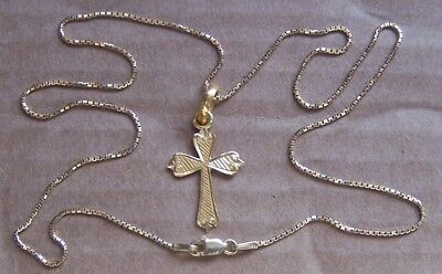 """14K solid yellow gold ORNATE CROSS & 18"""" CHAIN 4.9 Total Grams"""