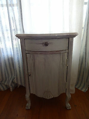 Shabby Chic French Provincial Night Stand Side Table Faux Marble Top  Lexington