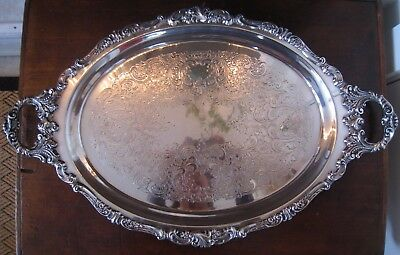 """Wallace Fancy Baroque Silverplate Tray ~ Large 24"""" ~ Excellent Cond."""