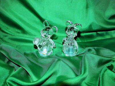 RARE!-Lenox Disney Mickey/Minnie Mouse Salt Pepper Shakers-Crystal NEW-NOS!