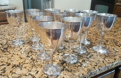 Sterling Silver Maciel Wine Goblets- Set of Twelve
