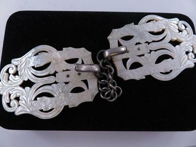 Antique Chinese Pierced Hand Carved Mother Of Pearl Large Ladies Belt Buckle