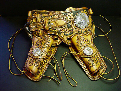 Great ! ~Tooled Leather~Cowboy~Double Holster Rig~Texas Longhorn Medallion's