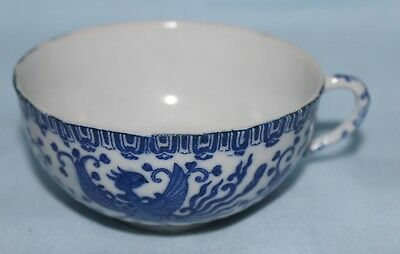 Teacup Phoenixware bird and flowers blue white Japanese vintage