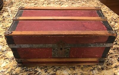 Antique Miniature French Doll Steamer Trunk Red Paper & Wood Fabulous Size Old!
